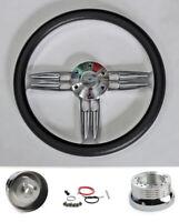 "60 - 69 Chevrolet C10 Pick Up 14"" Black Steering Wheel Double Barrel Bowtie Cap"