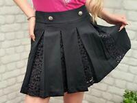 NEW The Kooples Beautiful Black Daisy Crepe Pleated Skirt  RRP £189 K401
