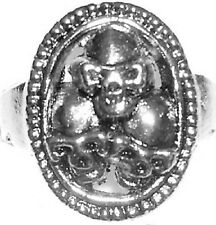 THREE SKULLS Metal Alloy Engraved Ring Silver Color Rock Gothic