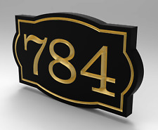 House Number Sign With Sculpted Oval Frame and Gold Numbers Personalized.