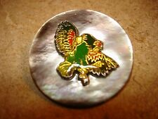 Large mother of pearl button with metal pheasant bird.