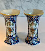 Pair Vintage French Faience Handprinted Desvres Vases