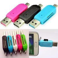 Útil 2 en 1 Micro USB 2.0 OTG Adaptador Lector de tarjetas Velocidad rápida