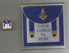 """FREEMASONS: PERSONALISED """"MASONIC APRON"""" Pin Badge & Coaster Set (WITH""""G"""")"""