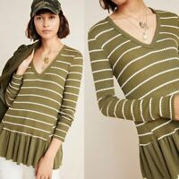NEW Anthropologie Eri+Ali Striped Tallie Peplum Top in Green Size M Retail $68
