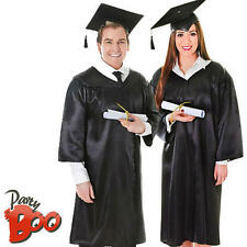 Black Graduation Robe + Hat Adult Fancy Dress School Uniform Mens Ladies Costume