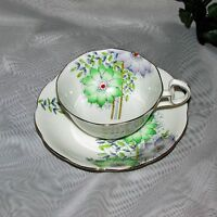 VINTAGE FOOTED CUP & SAUCER BELL ENGLISH FINE BONE CHINA HAND PAINTED FLOWERS