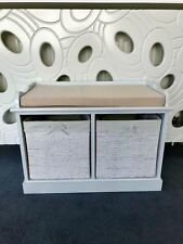 White Cream Storage Bench Shabby Chic Wicker Drawers Baskets Shoe Organiser New