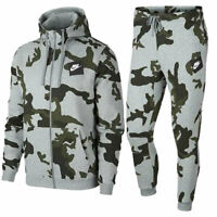 NIKE AH7019 Mens AOP Camouflage Club Zip Hoody Full Tracksuits Cotton Top Bottom