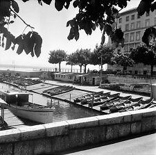SUISSE c. 1955 - Bateaux Port Cale Cabanes Neuchâtel - Négatif 6 x 6 - Sui 200