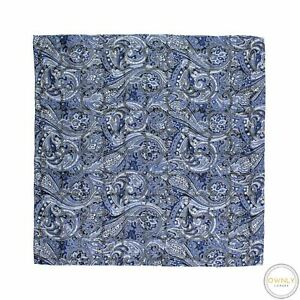 Brioni Blue White Silver 100% Silk Paisley Hand Rolled Pocket Square