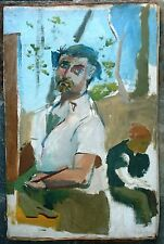 SAUL LISHINSKY & SELF-PORTRAIT OF THE ARTIST AS YOUNG MAN OIL ON CANVAS PAINTING