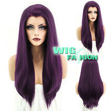 "24"" Heat Resistant Long Straight Dark Purple Lace Front Wig"
