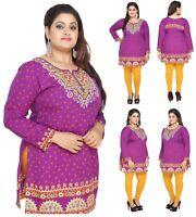 UK STOCK Long Sleeve Plus Size Women Indian  Kurti Tunic Shirt Dress EPLUS112D