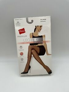 Hanes Premium Womens Leg Boost Cellulite Smoothing Tights 2XL Jet Black