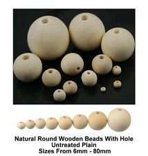 Natural Round Wooden Beads Balls Untreated Plain Wood Hole (6mm-80mm)