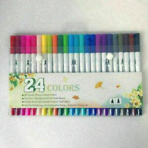 24 Colour Brush Pens Set Dual Tips Soft Fine Art Markers Drawing Watercolour
