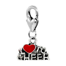 I Love to Cheer Red Heart Cheerleader Clip On Dangle Charm for Bracelets