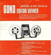 GOKO EDITOR VIEWER MODEL  A-301 DUAL 8mm Instructions Manual.
