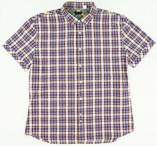 Paul Smith Men's XL Short Sleeve Blue Red White Plaid Modern Button Up Shirt EUC