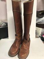 Bort Carleton Tan Saddle Leather Vintage Western Riding Boho Campus Boots Sz 7