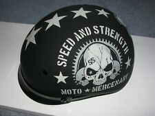 NEW SPEED & STRENGTH SS300 MOTO MERCENARY FLAT BLACK HALF MOTORCYCLE HELMET SM