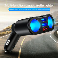 2 Way Car Cigarette Lighter Splitter Multi Socket Dual USB Plug Charger 12-24V