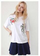 Embroidered Floral White Cotton Top #A1189