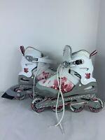 Blade runner Phoenix adjustable Rollerblades size 5-8 Girls Pink White ABEC3
