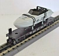LIONEL PORT OF LIONEL CITY #6424 FLAT CAR WITH OPERATING SPEED BOAT O GAUGE