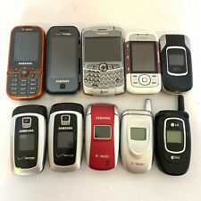 Lot Of 10 Old Untested Cellphones LG Blackberry Nokia Samsung As Is Flip Slider