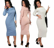 Spring Stretch Regular Size Dresses for Women