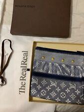 Louis Vuitton Women's Blue Monogram Denim Print Silk Square Scarf