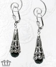 Gothic Antique Silver BLACK GLASS TEARDROP EARRINGS Victorian Style Filigree E08
