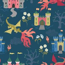 By 1/2 Yard Dragons Navy Blue ~ Lewis & Irene Fabric ~ Fairytale Fantasy Dragon