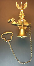 Antique Brass Door Pull Bell, Angel, Gargoyle, Mummy Wall Mount Plate Pull Chain