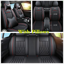 Full Set Black/Red Line PU Leather Seat Cover Cushion Universal For 5-Seats Car