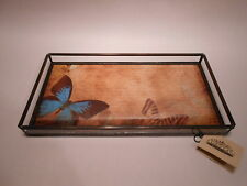Stained Glass & Metal Butterfly Dresser Tray Vintage Paper by J Devlin Glass Art