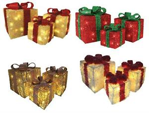 Set of 3 LED Light Up Christmas Boxes Decorative Parcels Rose Gold Red White