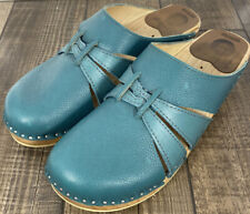 Troentorp Teal Clogs Leather Size 40 US 9-9.5 Arch Support -  Discontinued