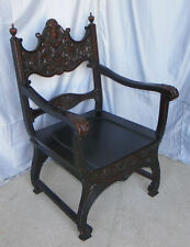 Antique Oak Highly Carved Chair With Arms