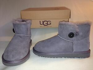 NEW UGG MINI BAILEY BUTTON BOOTS GREY YOUTH SZ 1 SO CUTE!! NO BOX AUTHENTIC