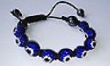 DARK BLUE EVIL EYE MACRAME  SHAMBALLA BRACELET- 9 DISCO BEADS - CZECH CRYSTAL-UK