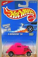 1995 Hot Wheels Blue Card Collector No #451 3-WINDOW '34 Pink w/Chrome 7 Spokes