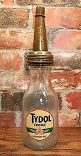 "Tydol Flying ""A"" 1 Qt. Glass Motor Oil Bottle with Master Mfg. Co. Spout & Cap"