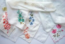 10 machine embroidered floral vintage handkerchiefs  *J