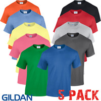 5 x Gildan MEN'S T-SHIRT HEAVY COTTON PLAIN TSHIRTS SIZES S-5XL PACK WHOLESALE