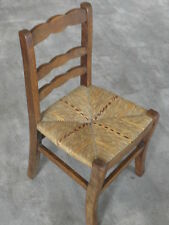 Vintage Chair wood Oak antique Farmhouse Stool Children Bench Seat Kid armchai