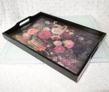 1970s Decoupage BLACK Rectangle Wooden Serving Tray – FLOWER BASKET - Taiwan