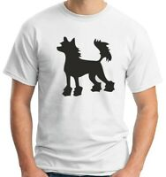T-shirt Uomo Bianco WES0577 CHINESE CRESTED HAIRLESS DOG SILHOUETTE